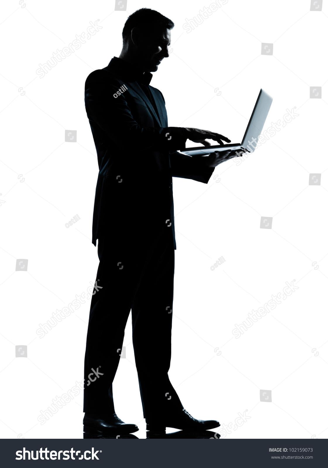 One Caucasian Business Man Computing Computer Laptop ...