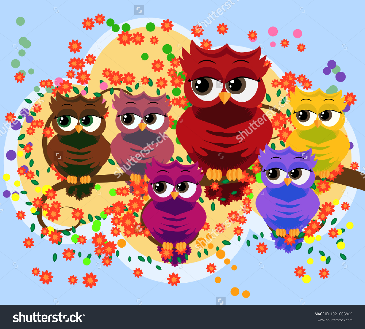 Family Colorful Bright Lovely Cartoon Owls Stock Vector 1021608805 ...