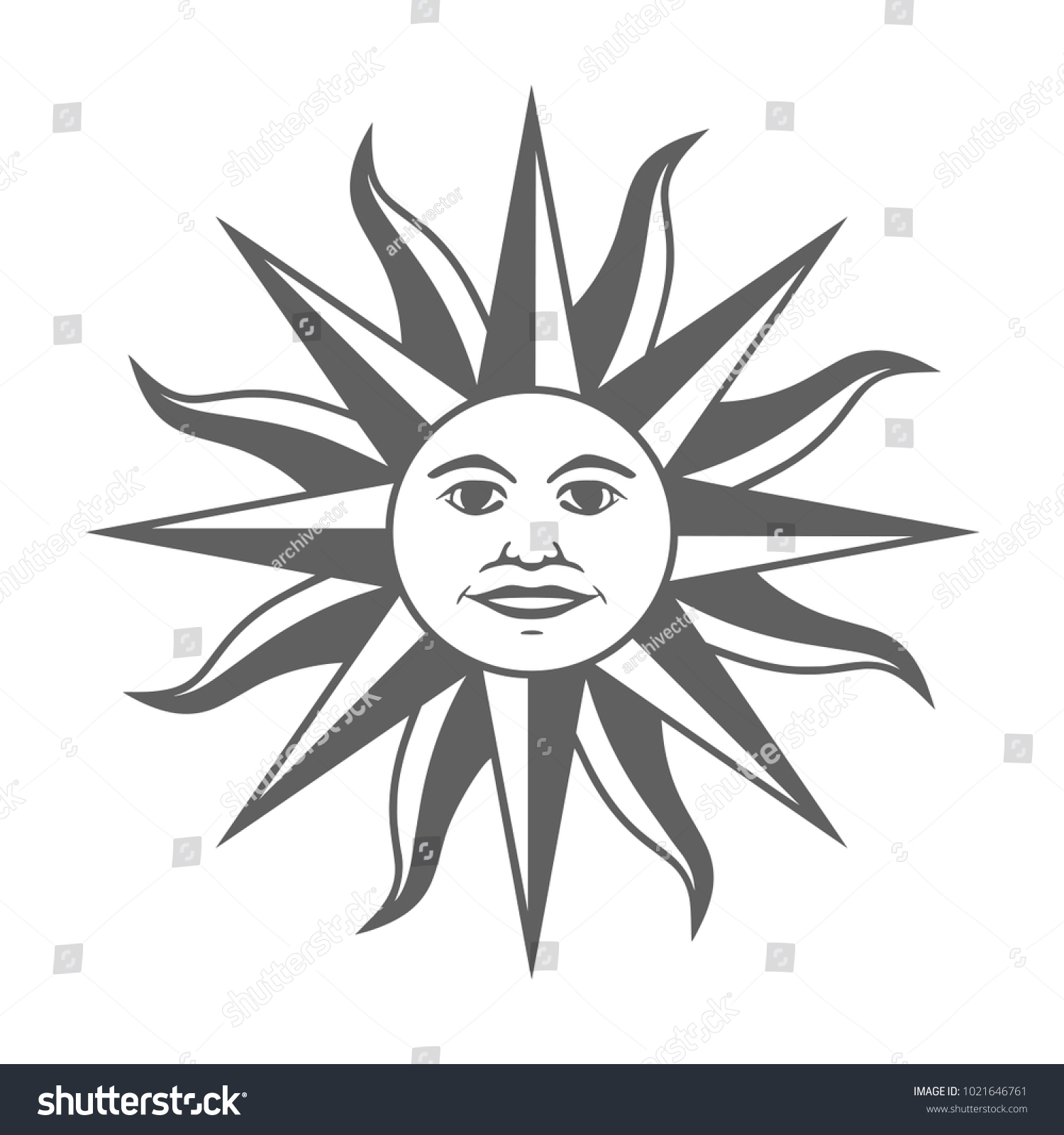 Icon Inca Sun God Inti Sun Stock Vector Royalty Free 1021646761