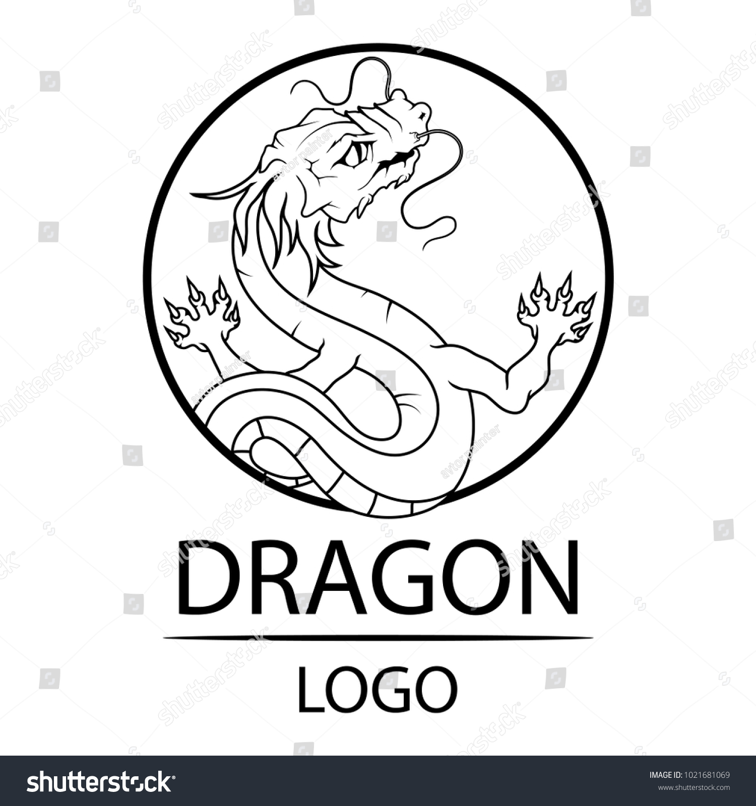Dragon Symbol China Traditional Chinese Red Stock Vector Royalty