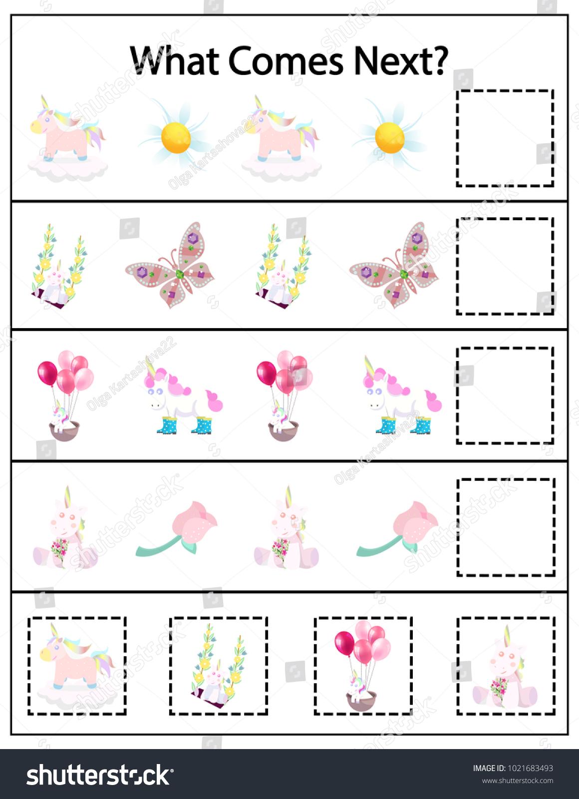 What Comes Next Kindergarten Worksheet Kids Stock Vector 1021683493 ...