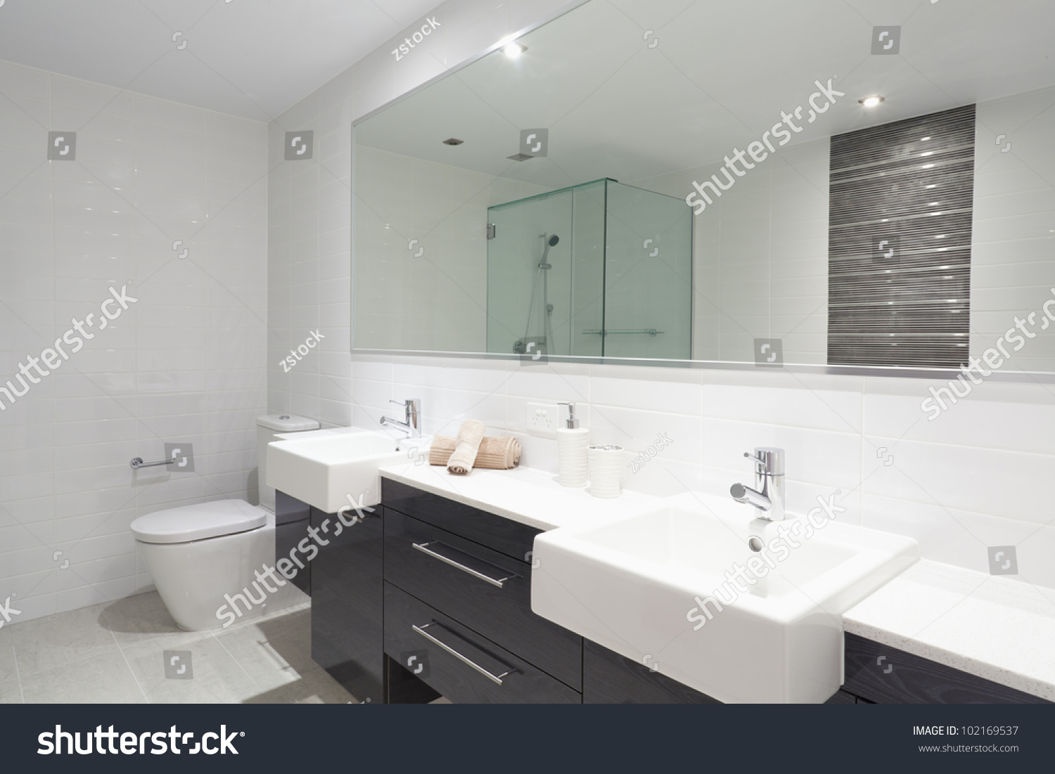 Twin bathroom sinks - Modern Twin Bathroom With Sinks Toilet And Shower