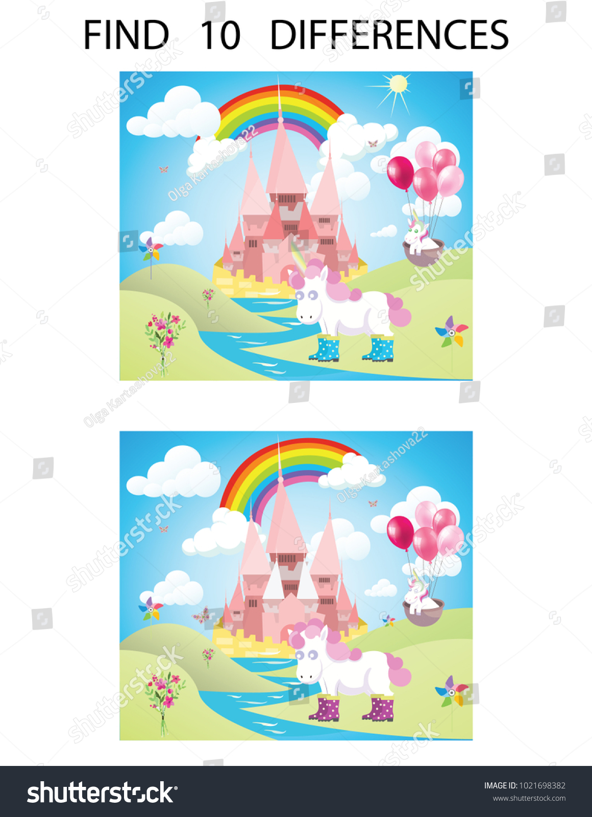 Find Ten Differences Educational Game Children Stock Photo (Photo ...