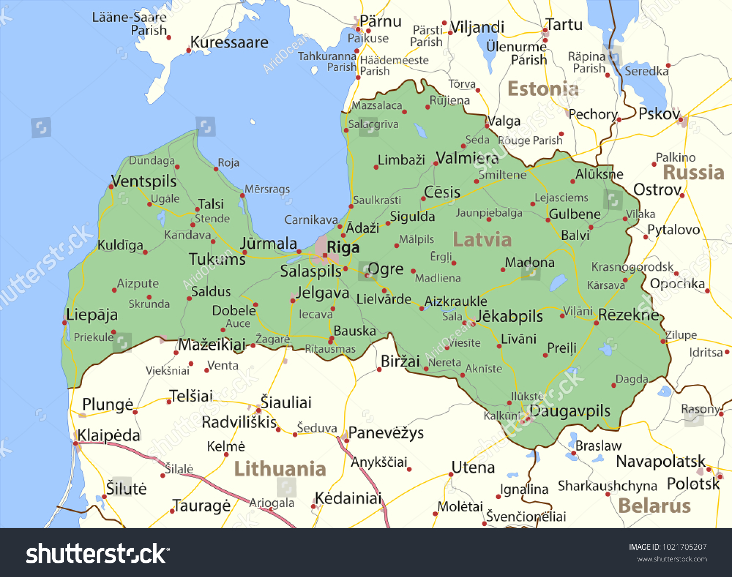 Where Is Latvia On The World Map.Map Latvia Shows Country Borders Urban Stock Vector Royalty Free
