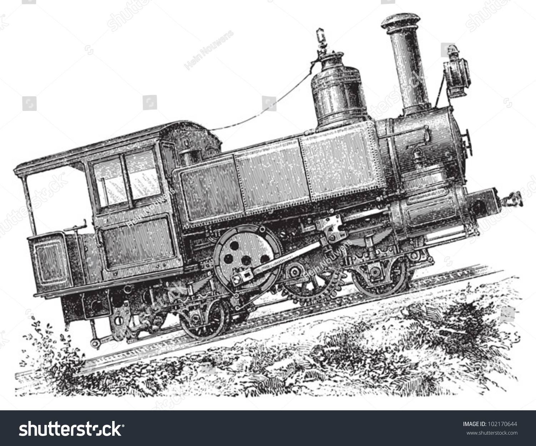 Steam Locomotive Mountain Railway Vintage Illustration ...