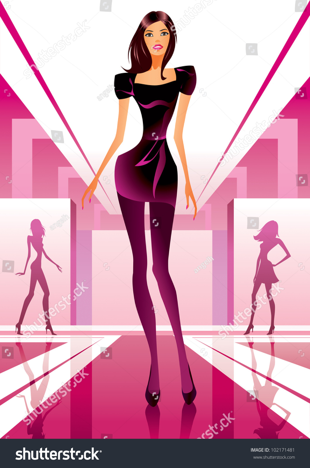 fashion models show new clothes fashion stock vector