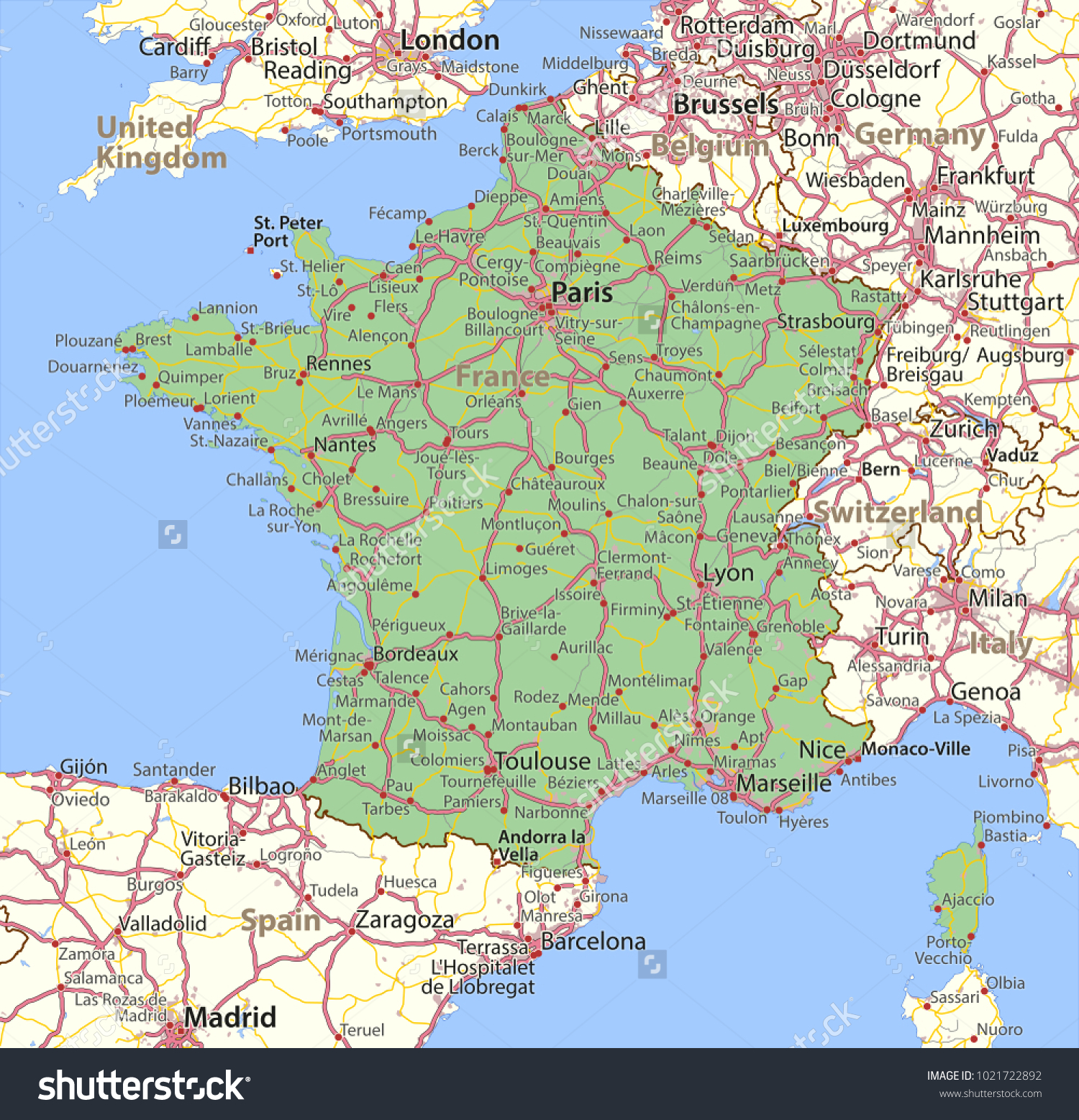 Map France Shows Country Borders Urban Stock Vector 1021722892