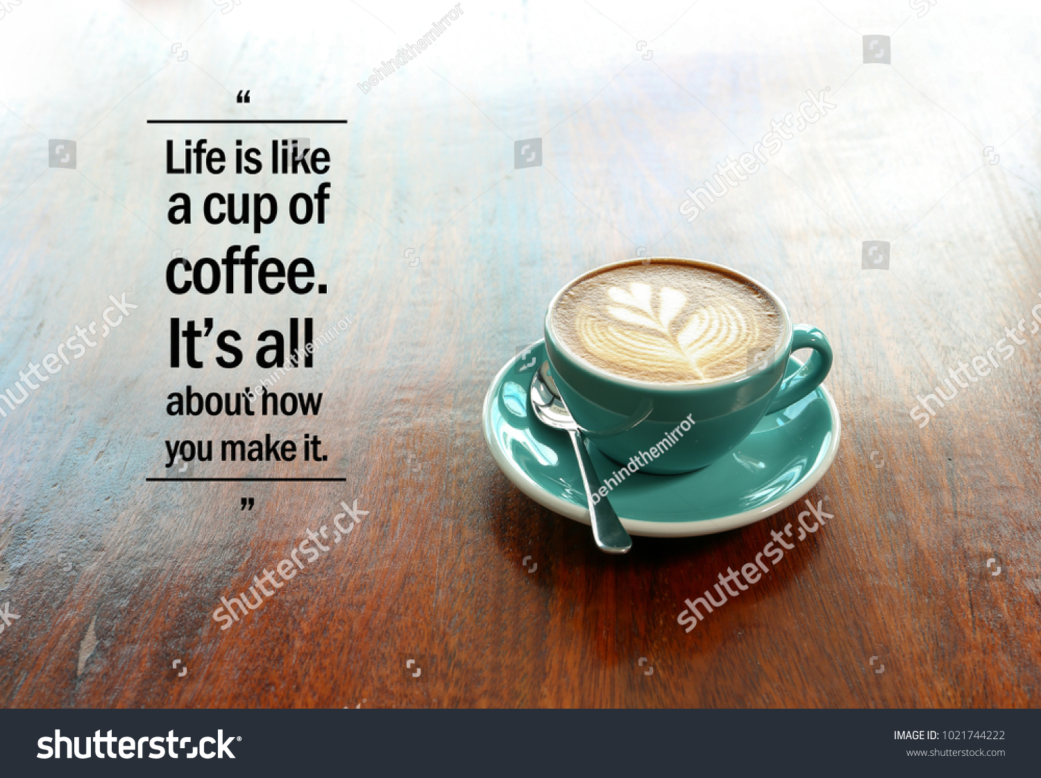 inspirational positive quote like cup coffee stock photo edit now