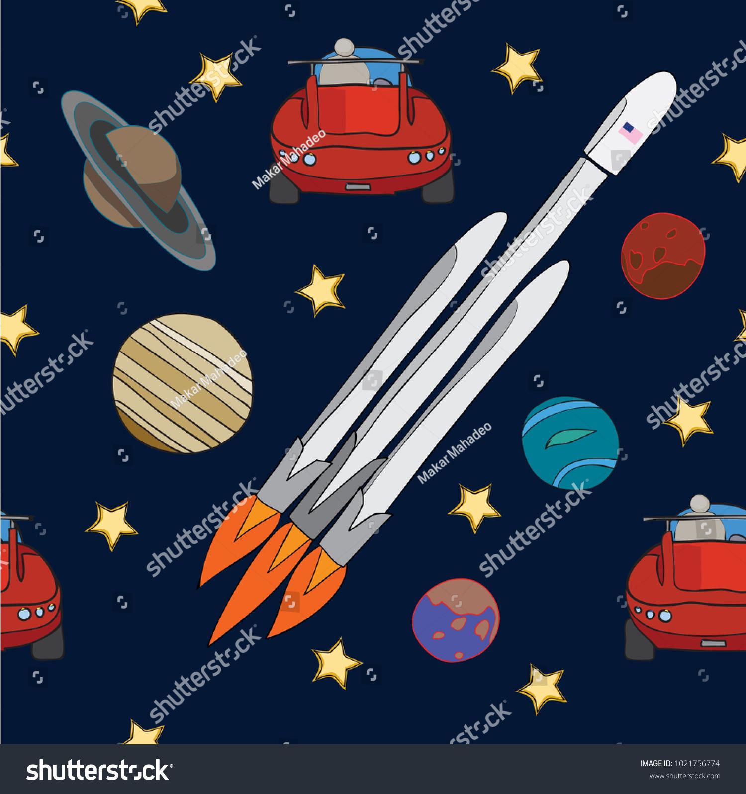Spaceship Car Flying Space Mars Stock Vector Royalty Free