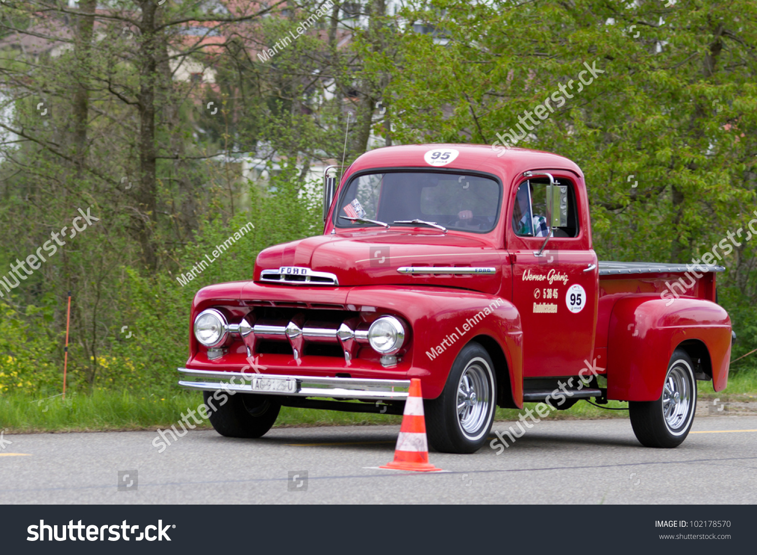 mutschellen switzerland april 29 vintage car ford f 100 pick up from 1951 at grand prix in. Black Bedroom Furniture Sets. Home Design Ideas