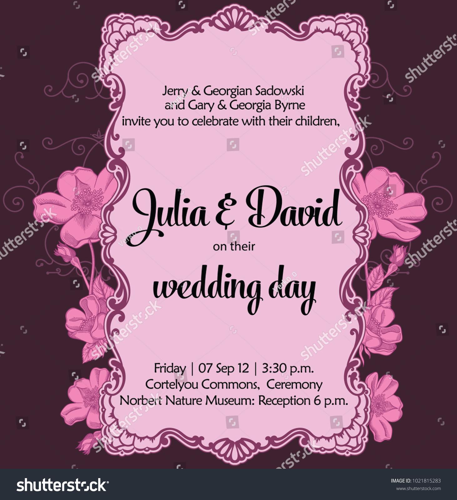 Marriage Romantic Invitation Decorative Floral Frame Wedding Stock ...