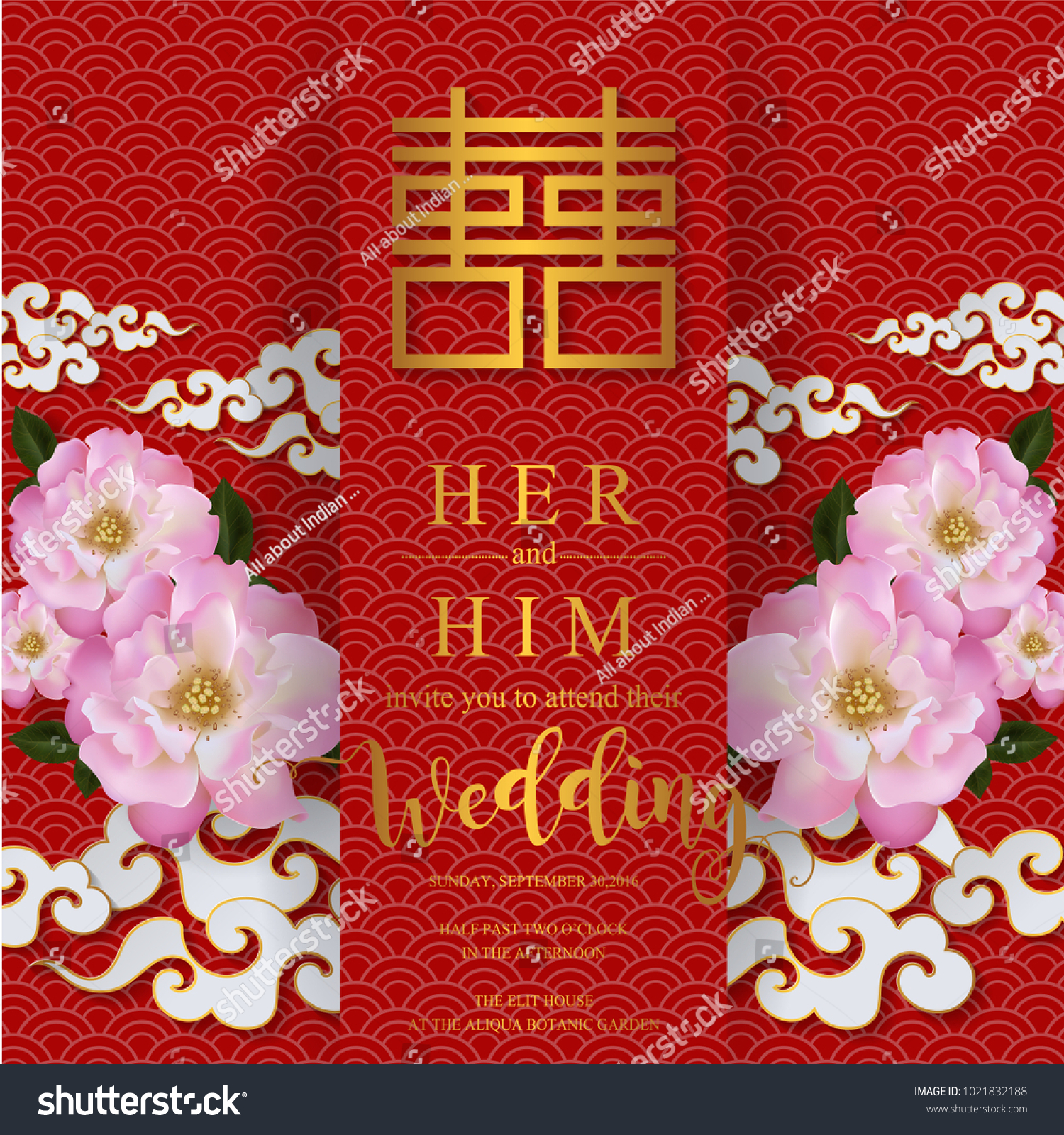Chinese Wedding Invitation Card Templates Gold Stock Vector ...