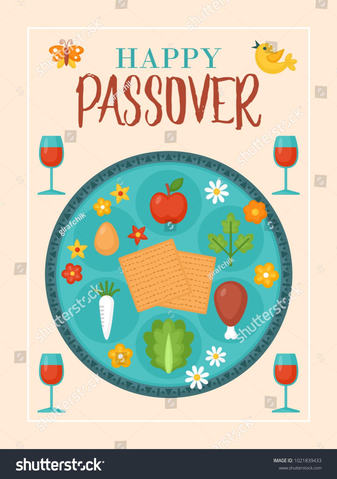 Passover holiday greeting card design seder stock vector passover holiday greeting card design with seder plate and matzo buycottarizona