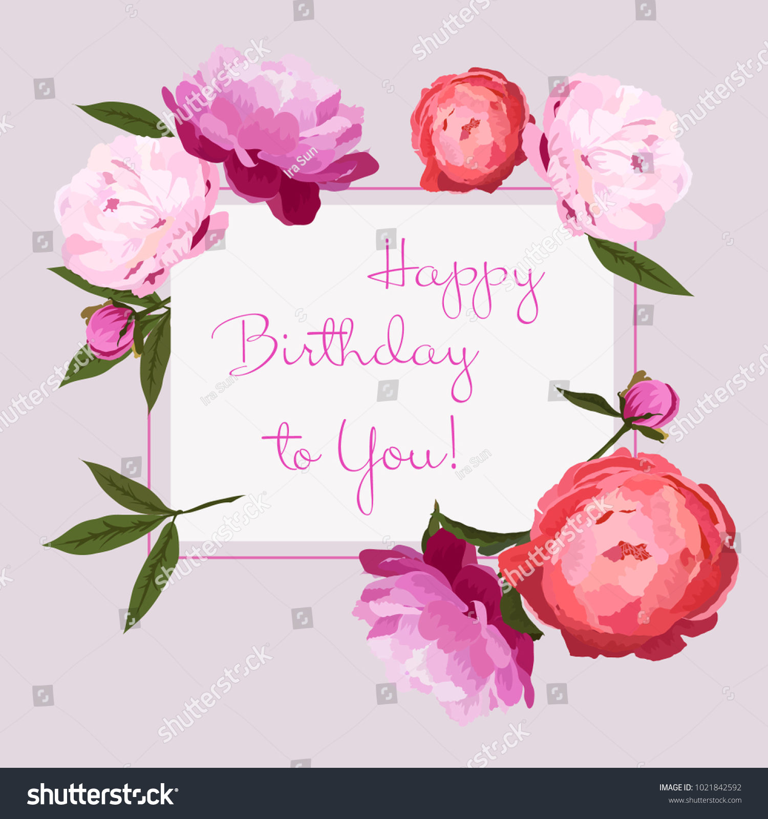 Vector Illustration Of Happy Birthday Greeting Card With Colorful Peonies Flowers Red Pink And