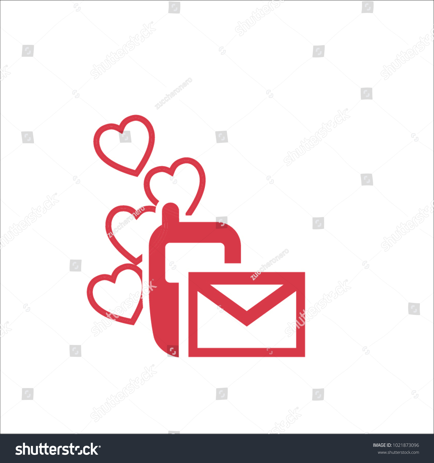 Love Text Message On Phone Icon Stock Vector 1021873096 Shutterstock