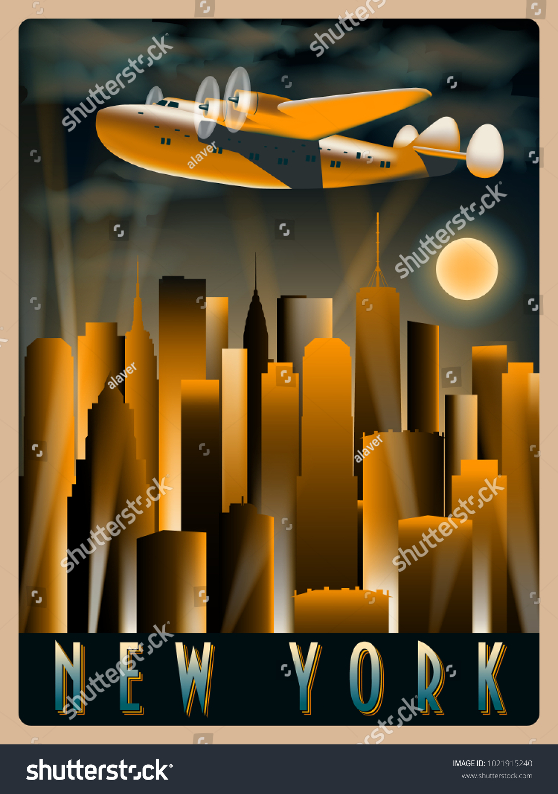 Deco Design New York airplane sky over new york night stock vector (royalty free