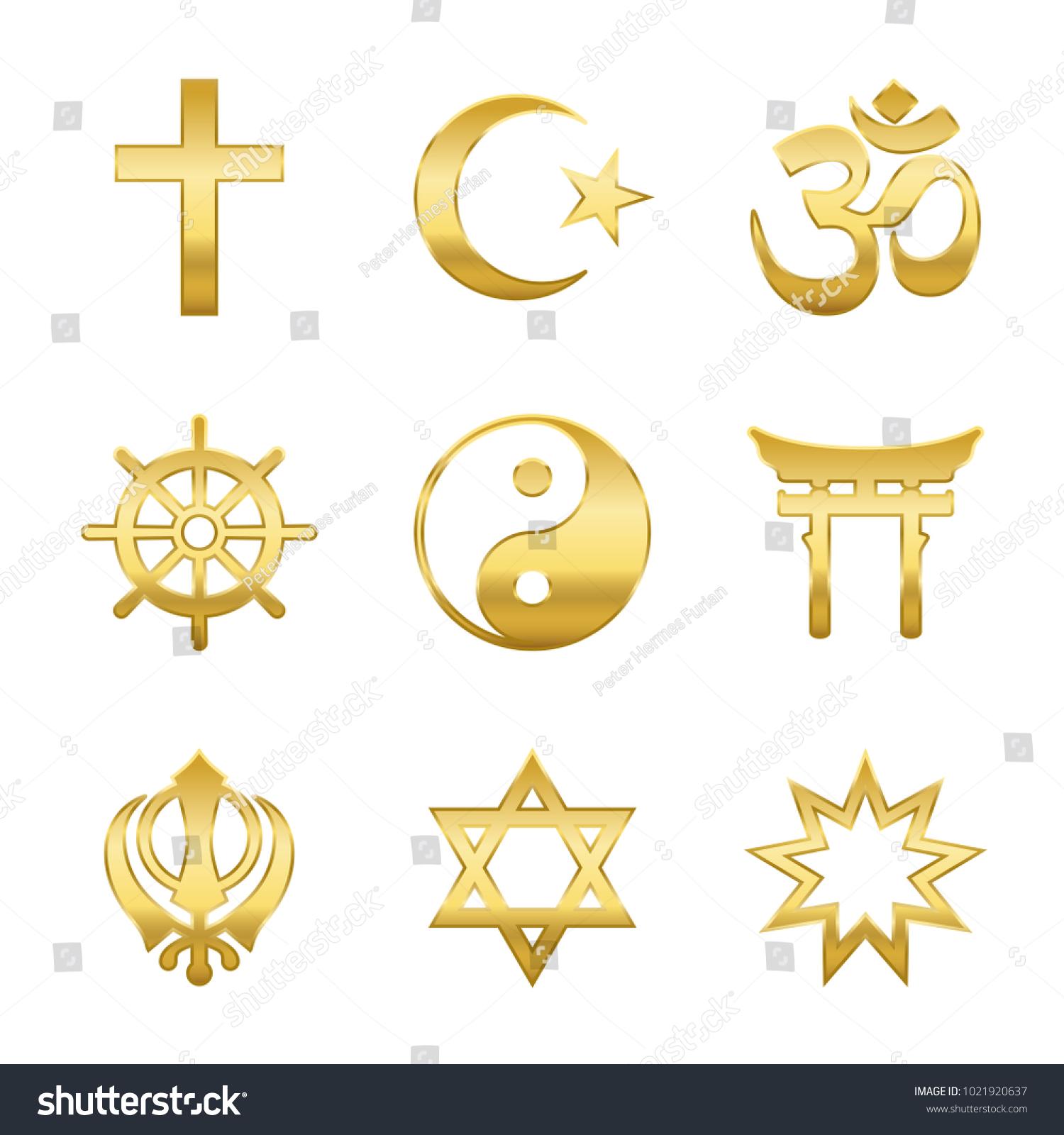 Golden World Religion Symbols Signs Major Stock Vector Royalty Free