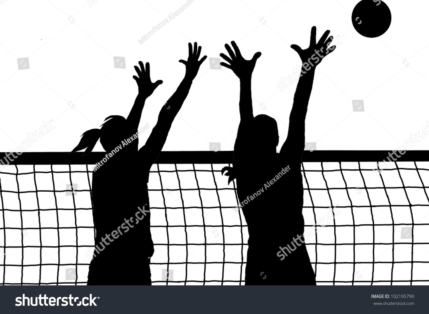 Abstract Triangle Volleyball Player Silhouette Stock: Volleyball Two Women And Ball Silhouette Vector