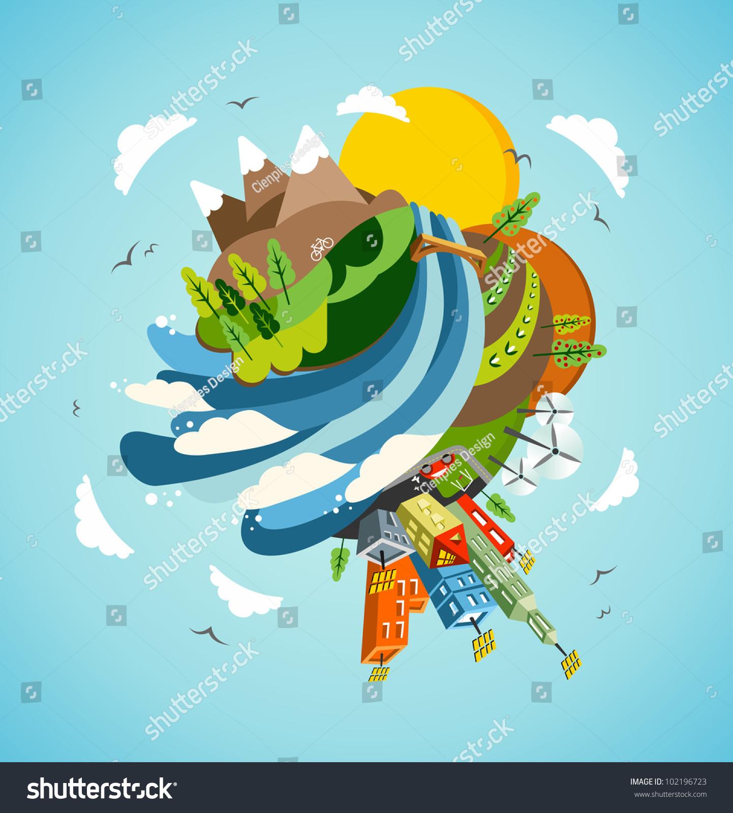 Go Green Energy Earth Globe Global Stock Vector 102196723