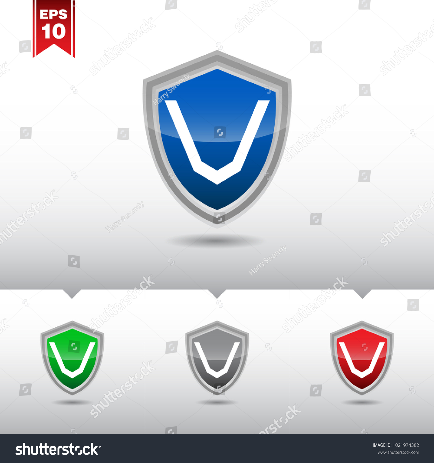 V Letter Shield Letter Logo Icon Stock Vector Royalty Free