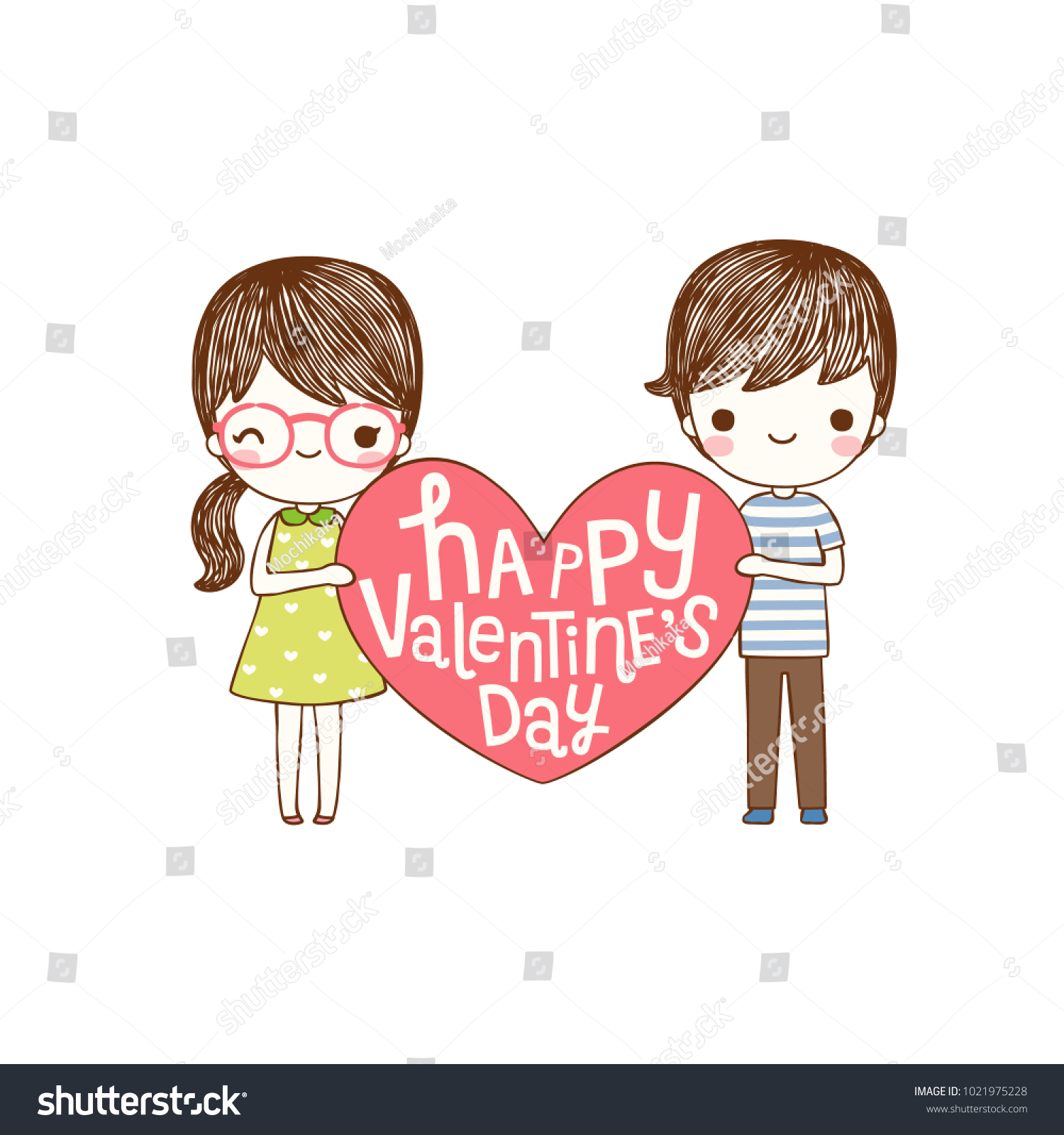 Happy Valentines Day Card Lovely Couple Stock Vector 1021975228 ...