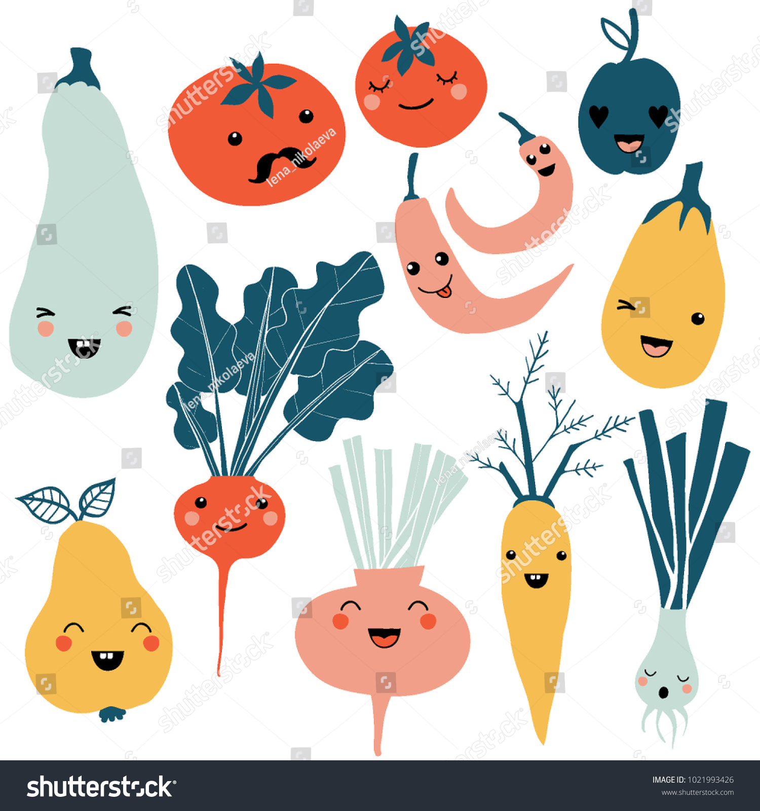 Cute cartoon smiley fruit and vegetable characters. Flat icons set: pepper, carrot, tomato, pear, onion. Colorful design for cards, banners, printed materials. Cute doodle style emoticons. #1021993426