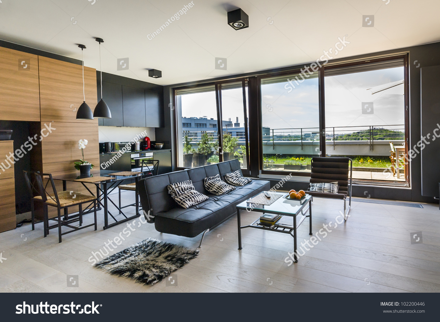 Modern interior design room with panoramic windows #102200446