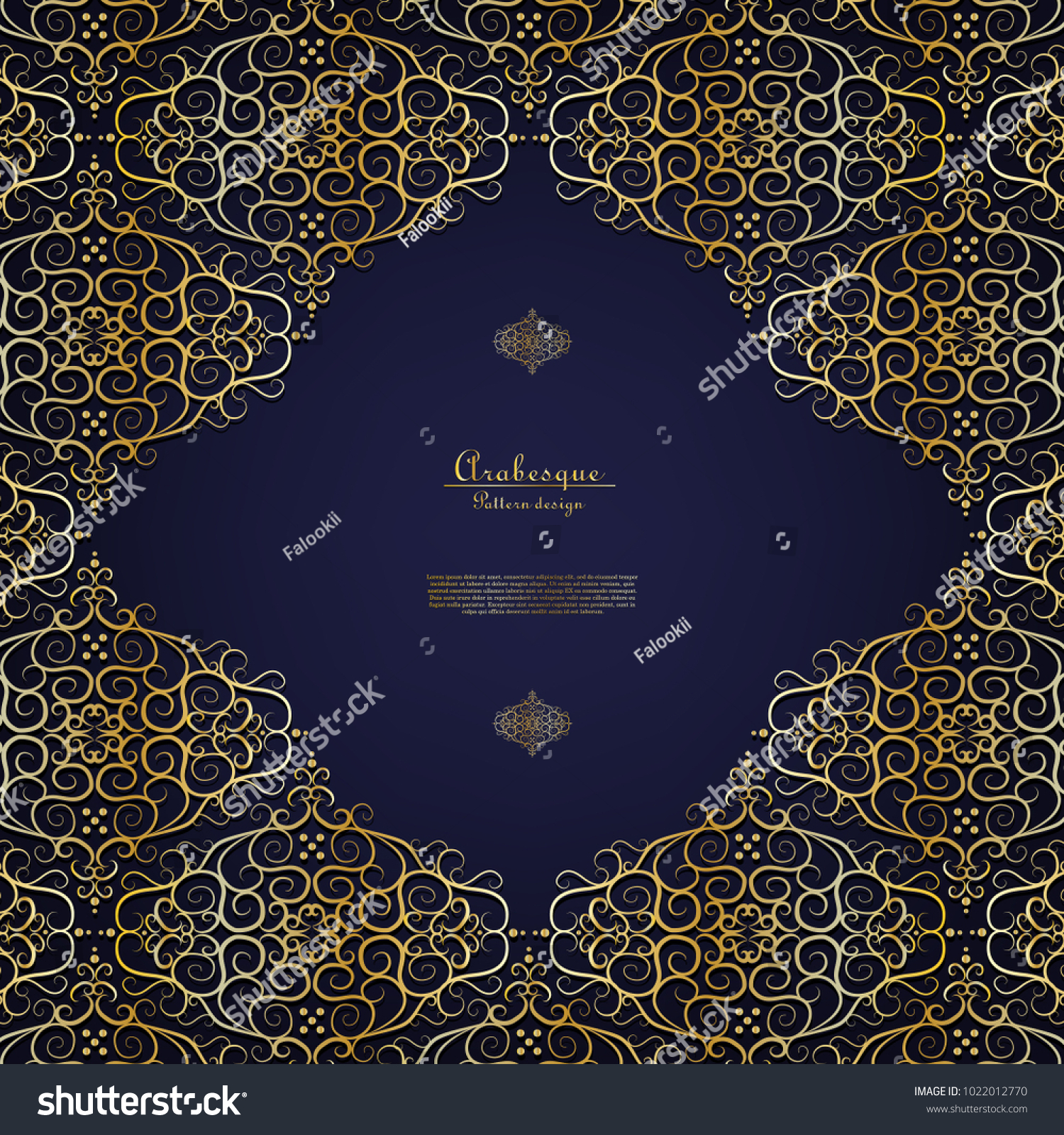 Arabesque Blue Element Gold Flower Background Template Vector Design