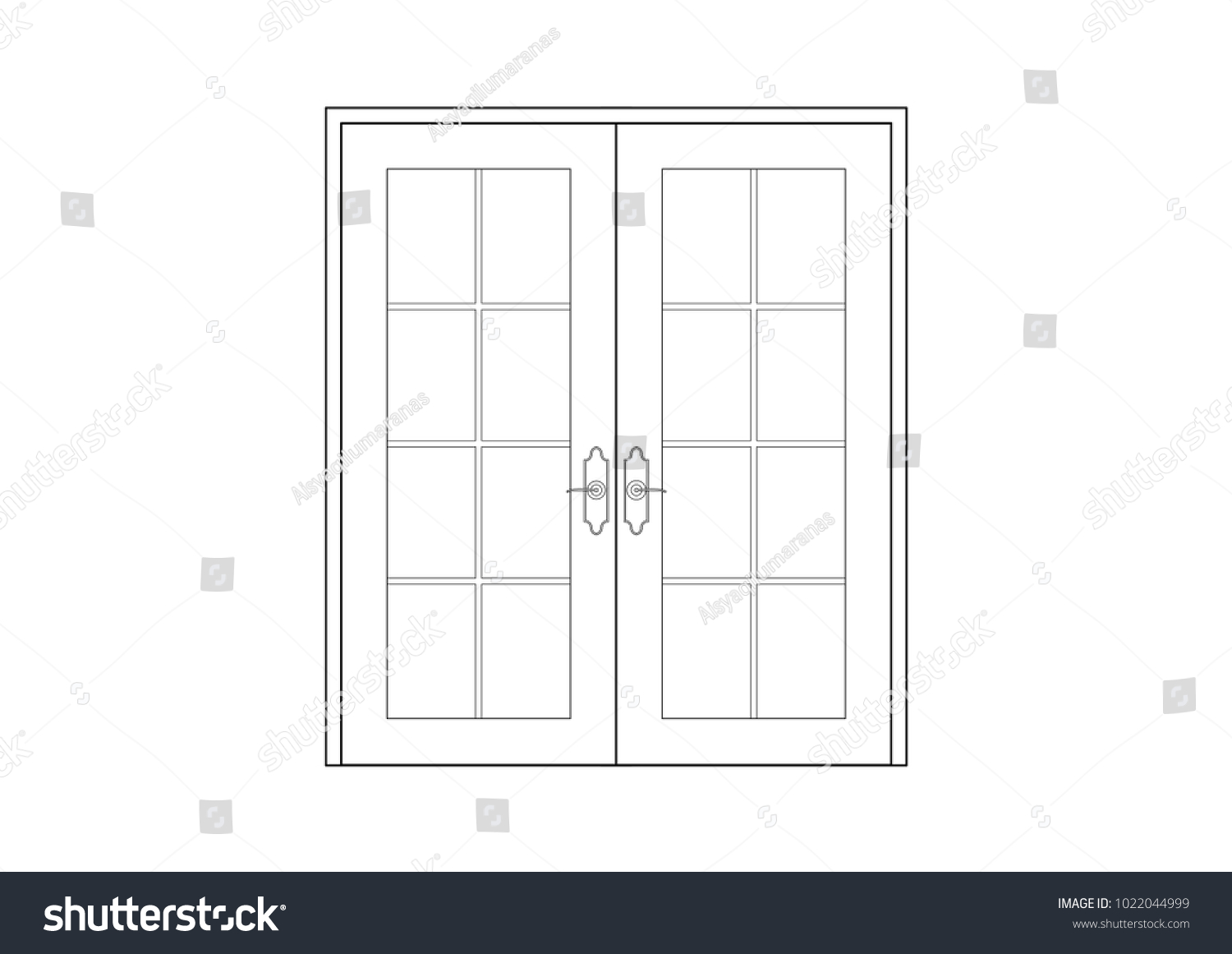 2D CAD architectural drawing of french door in black and white  sc 1 st  Shutterstock & 2 D CAD Architectural Drawing French Door Stock Illustration ...