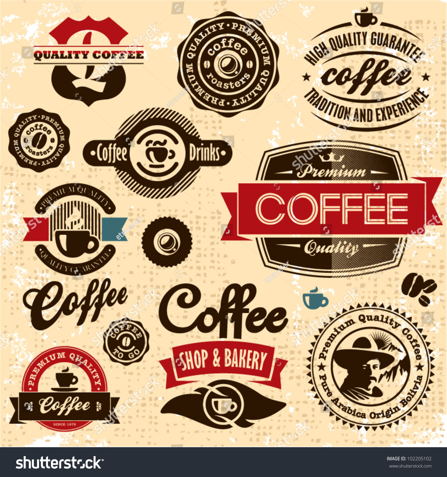 Retro style coffee vintage collection.