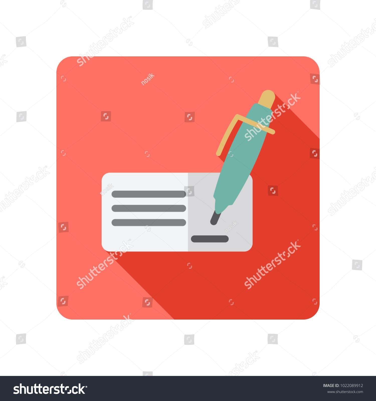 Blank Bank Check Pen Signature Icon Stock Vector Royalty Free