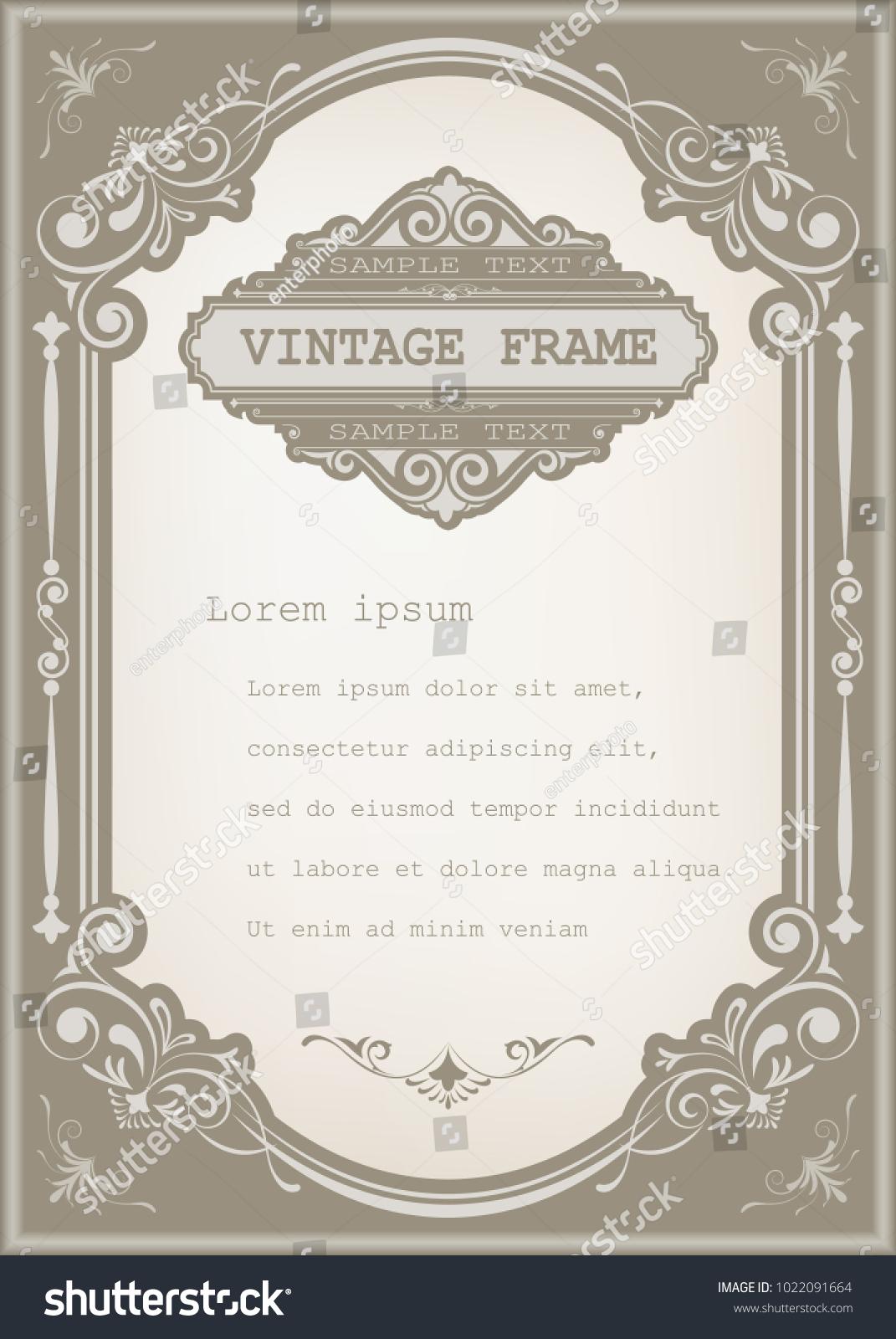 Vintage frame beautiful filigree decorative border stock vector vintage frame with beautiful filigree decorative border luxury greeting cardsvector illustration kristyandbryce Images