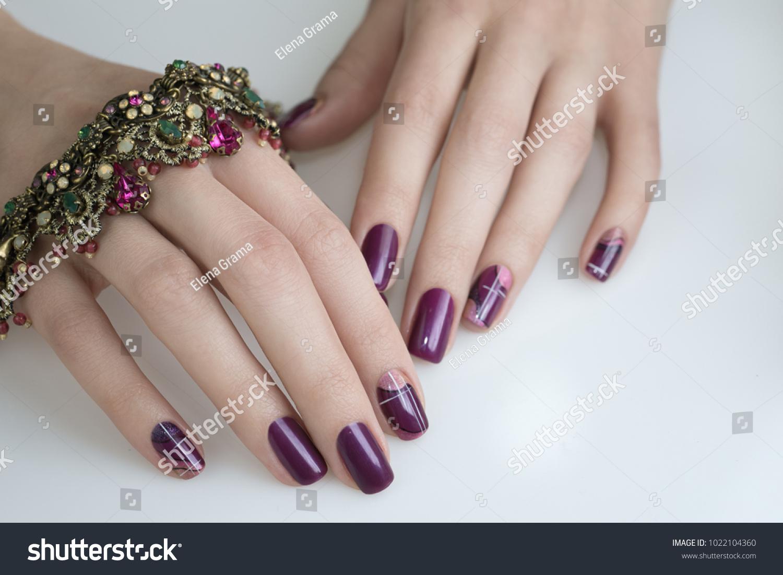 Beautiful Nail Art Manicure Nail Designs Stock Photo Edit Now