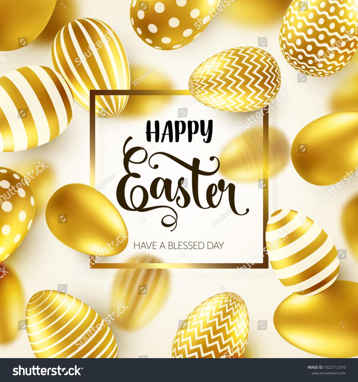 Easter Golden Egg Calligraphic Lettering Greetings Stock Vector