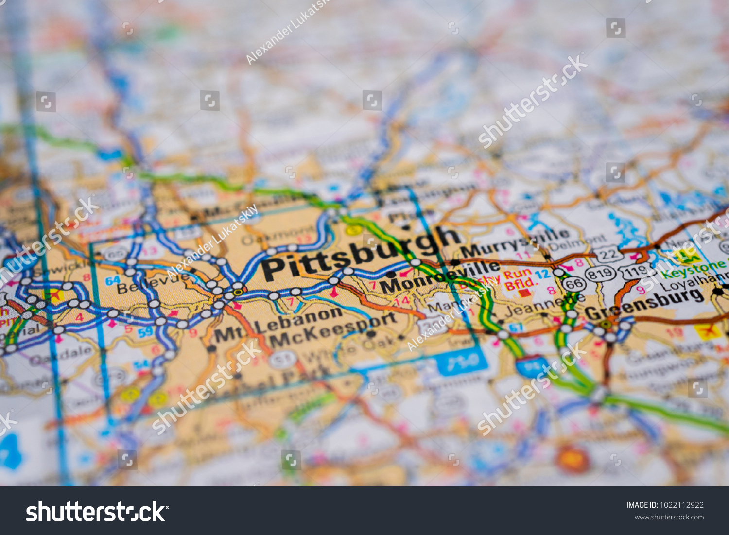 Pittsburgh On Usa Map Stock Photo Image RoyaltyFree 1022112922
