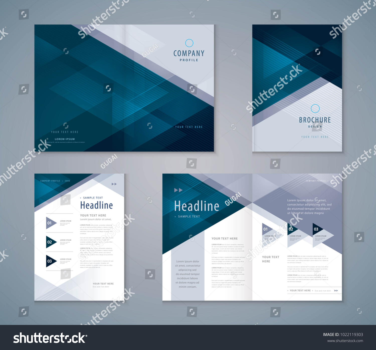 Cover Book Design Set, Triangle Background vector Template Brochures, flyer, presentations, leaflet, magazine, invitation card, annual report