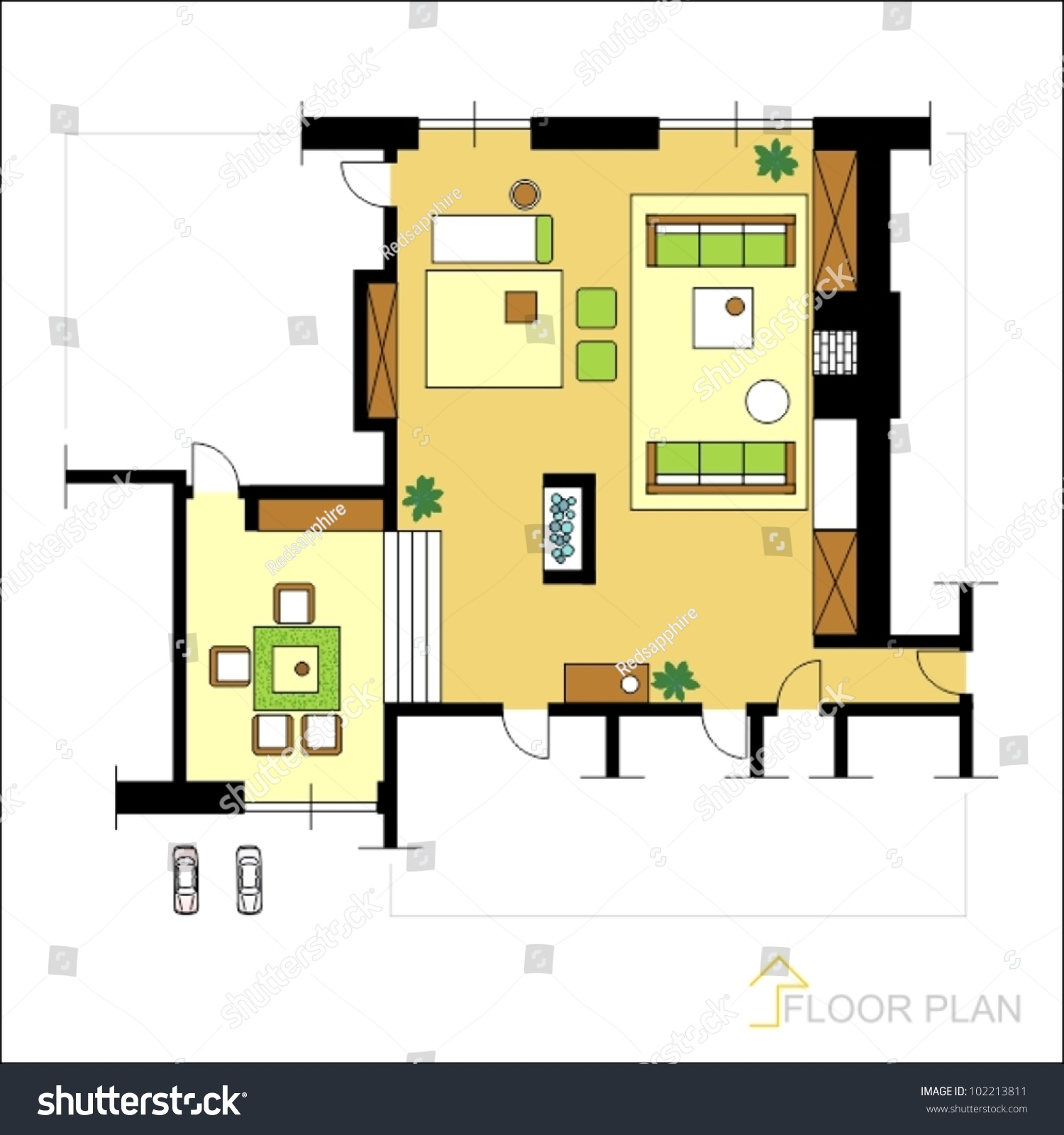 Architectural vector apartment floor plan stock vector for Apartment stock plans