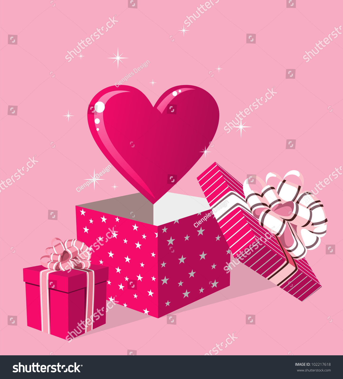 Happy day greeting card surprise heart stock illustration 102217618 happy day greeting card surprise heart love in gift box over pink background vector m4hsunfo