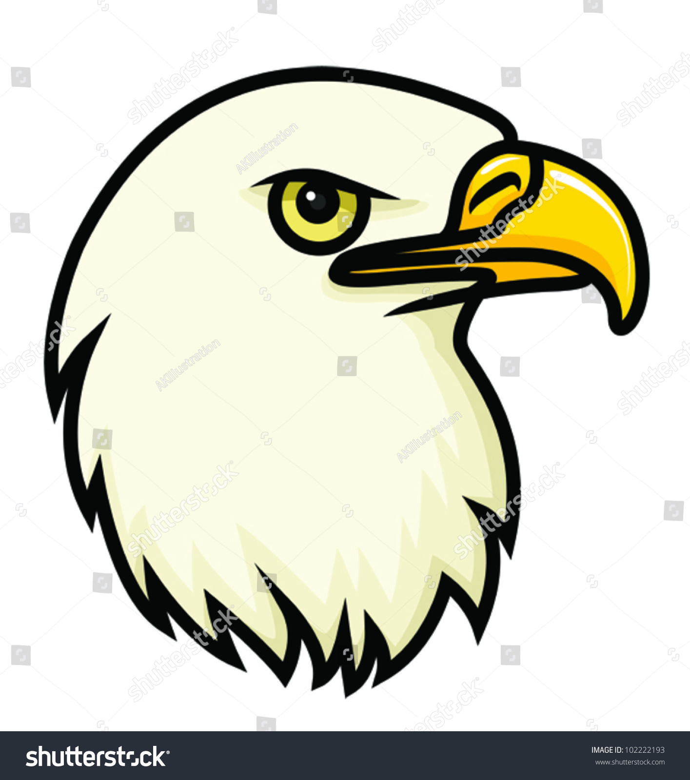 A cartoon vector drawing of a bald eagles face vector