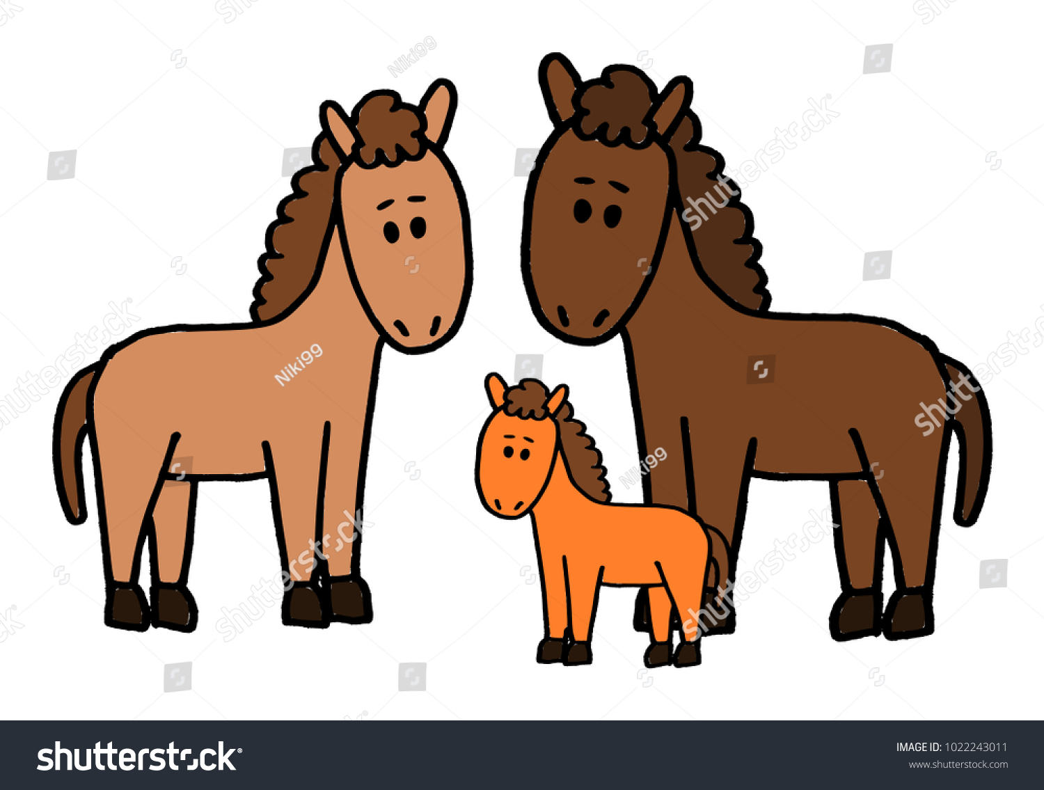 Cute Kid Easy Vector Illustration Horse Stock Vector Royalty Free 1022243011