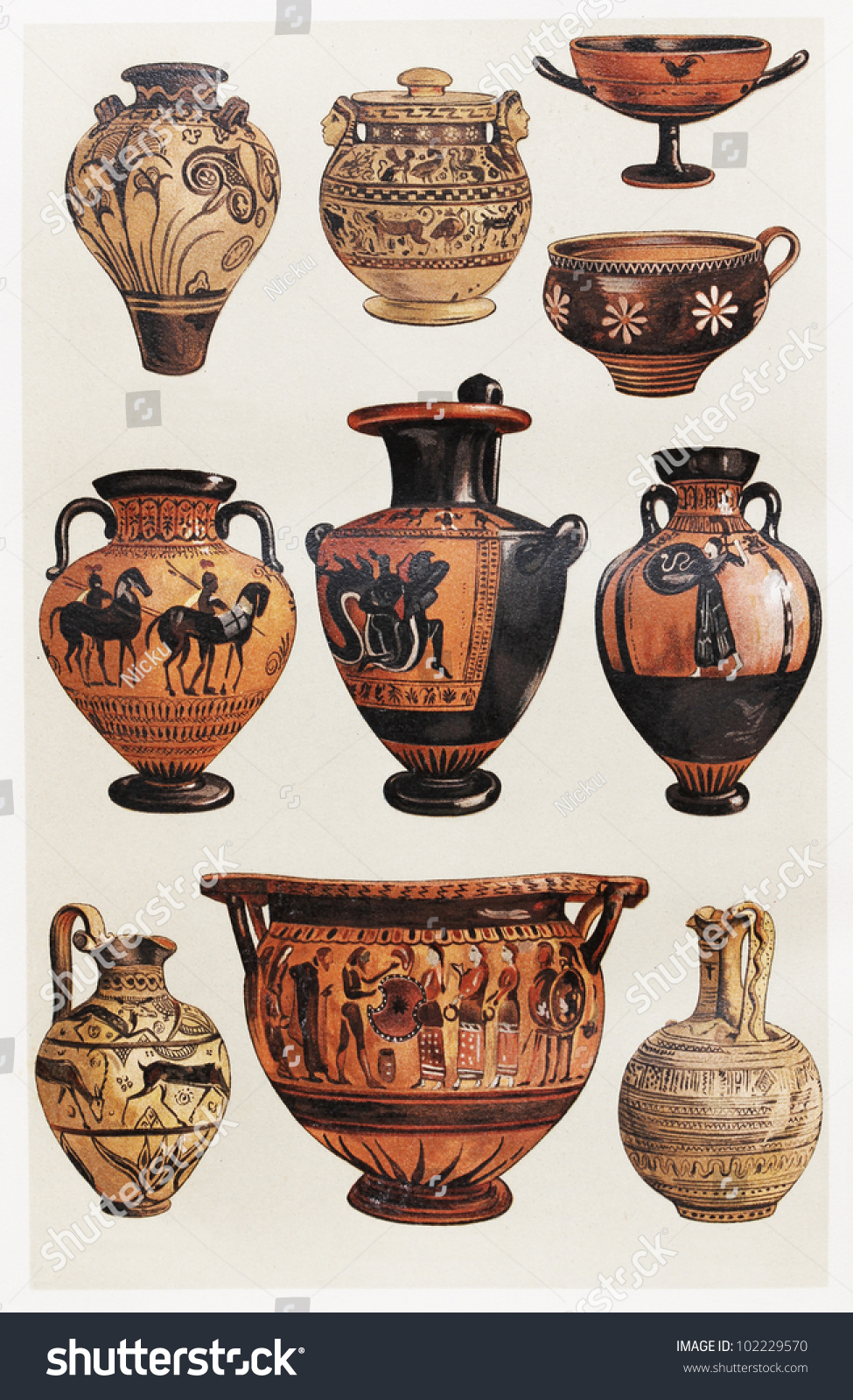 Vintage drawing representing various types greek stock photo vintage drawing representing various types of greek clay vases picture from meyers lexikon book reviewsmspy