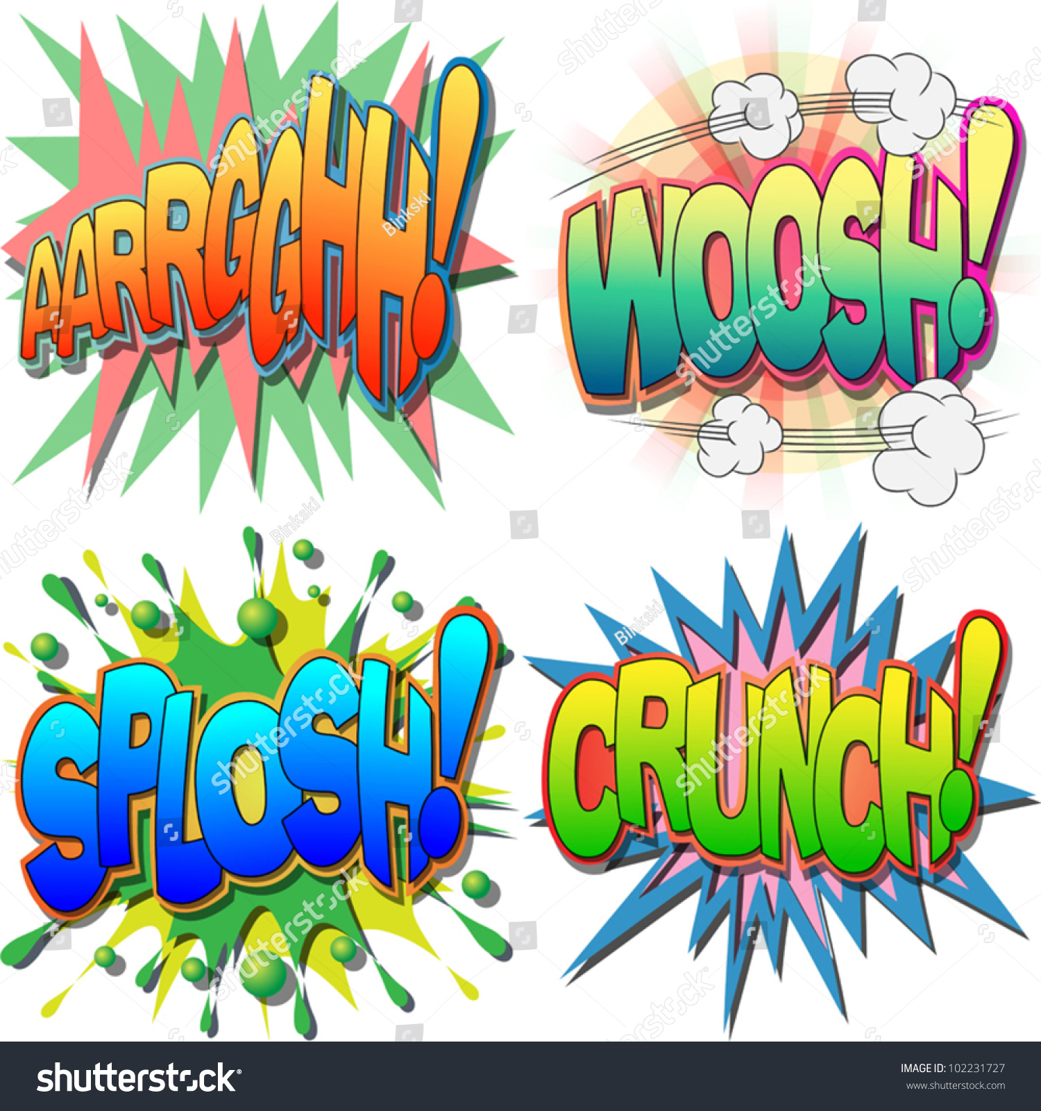 selection comic book exclamations action words stock vector a selection of comic book exclamations and action words argh woosh splosh
