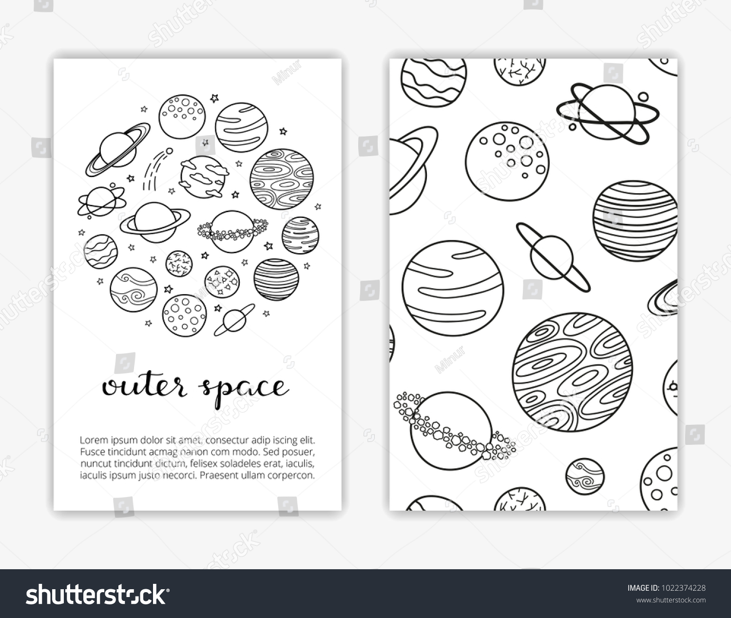 Card Templates Doodle Outline Fantastic Space Stock Vector ...