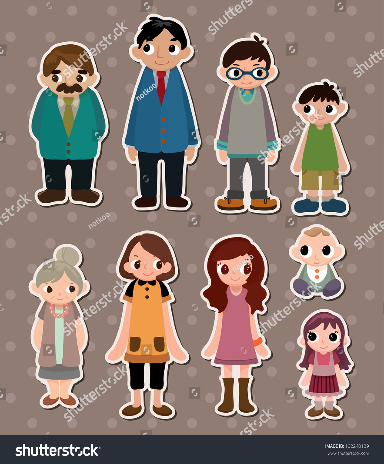 Family Stickers Stock Vector 102240139 - Shutterstock