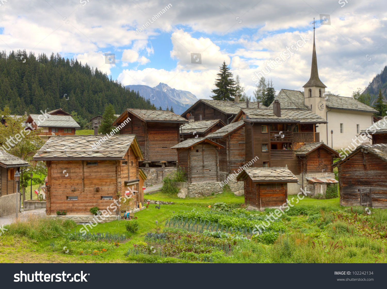 Small swiss village settlement blatten naters of withered wooden houses and church in canton - The tiny house village a miniature settlement ...
