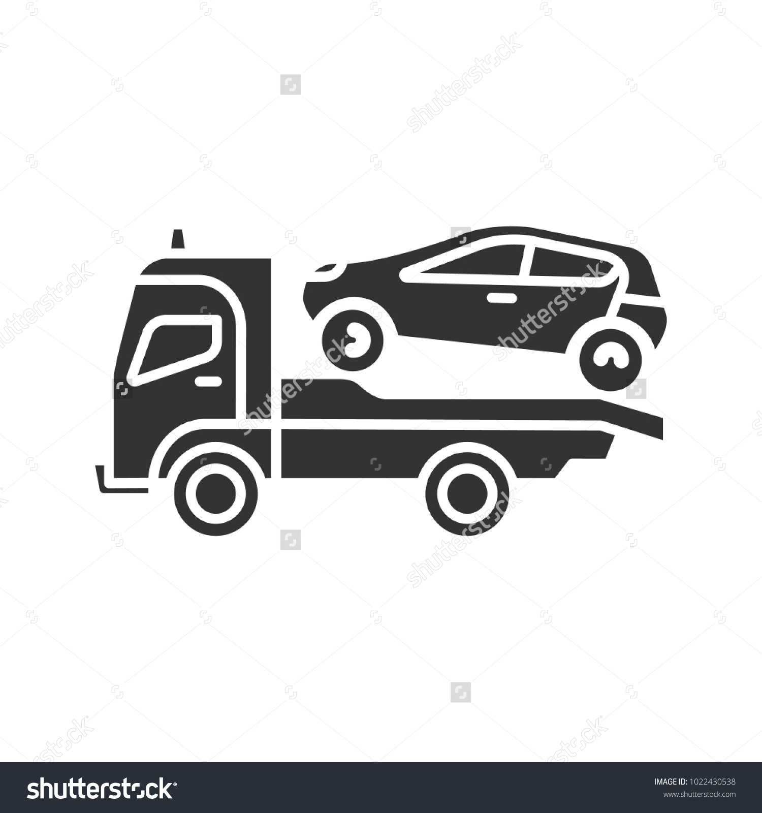 Tow Truck Glyph Icon Evacuator Car Stock Vector Royalty Free