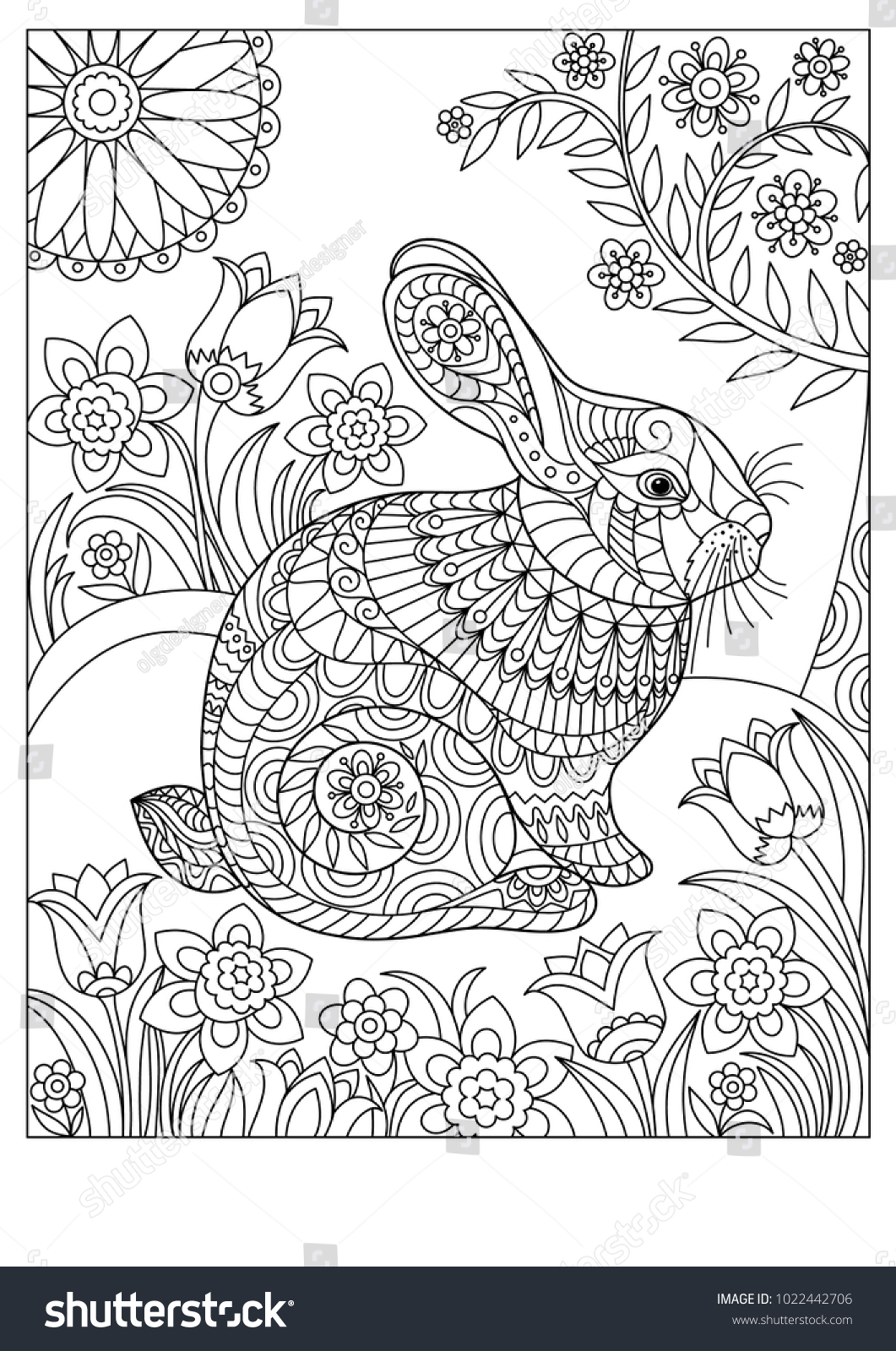 Spring Rabbit Coloring Page Adult Children Stock Vector (Royalty ...