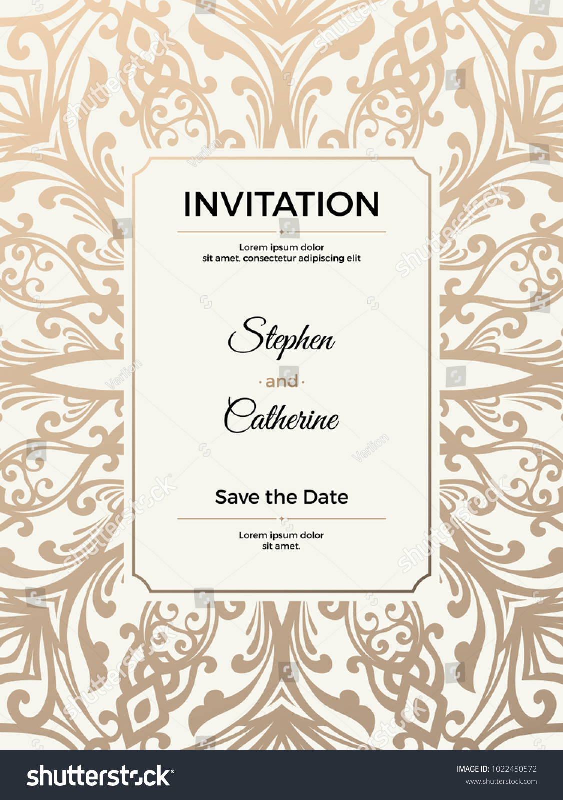 Vintage Wedding Invitation Template Greeting Card Stock Vector ...