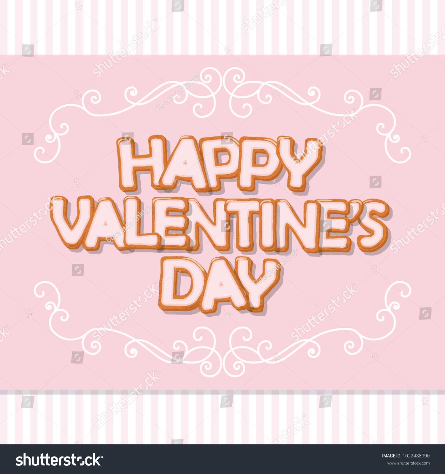 Happy Valentines Day Card Sweet Letters Stock Vector 1022488990 ...