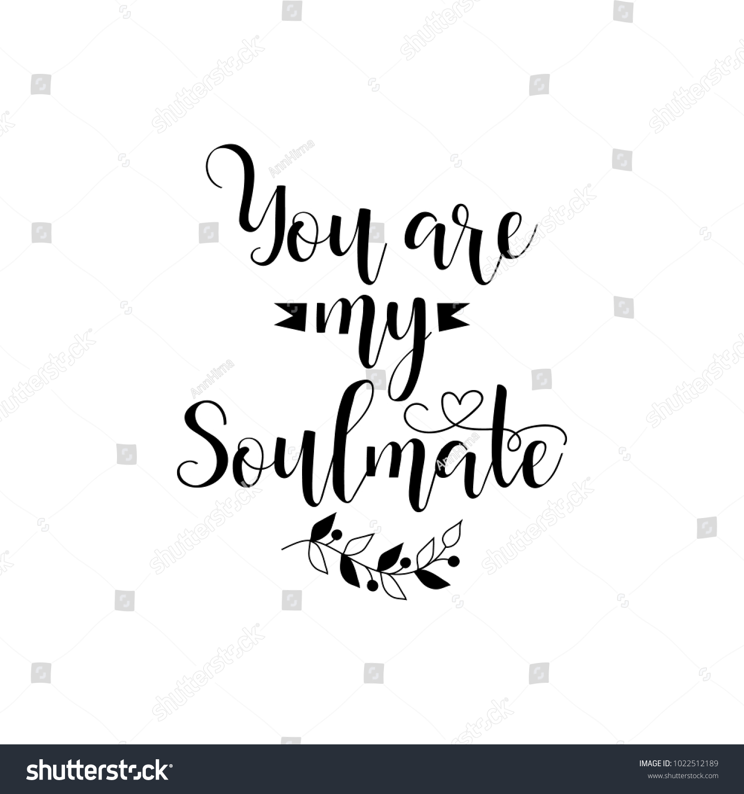 You My Soulmate Romantic Inspirational Quote Stock Vector Royalty